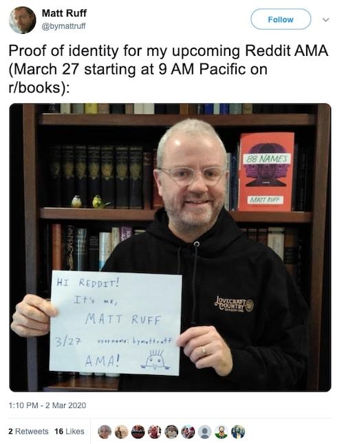 Matt Ruff Reddit AMA twitter