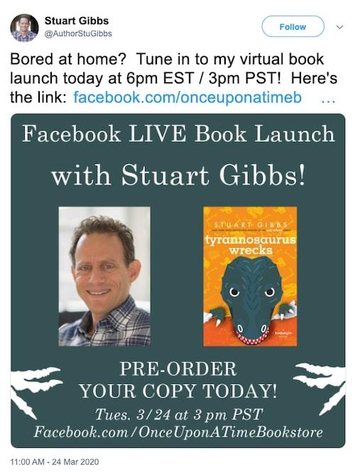 Stuart Gibbs promoting a facebook live event