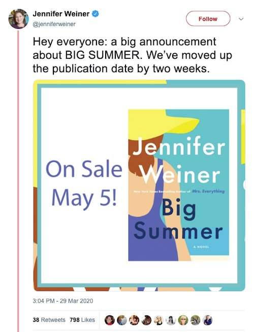 Jennifer Weiner Tweet moving up publication date