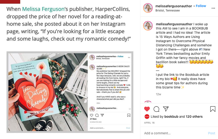 Author Boosting a BookBub Blog Mention with Instagram Post