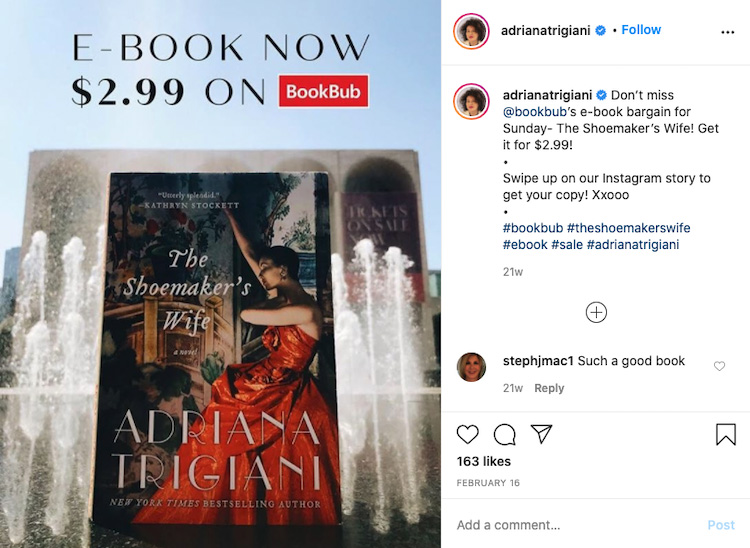 Promoting BookBub Discount on Instagram