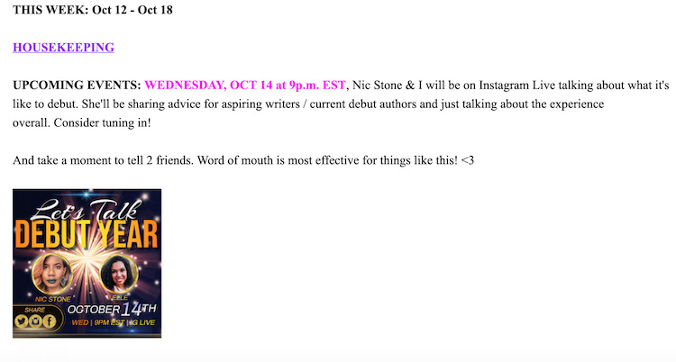 An example email from J.Elle's street team