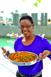 Rosalind Elemy with Sweet Potato curry; a good cancer-fighting recipe