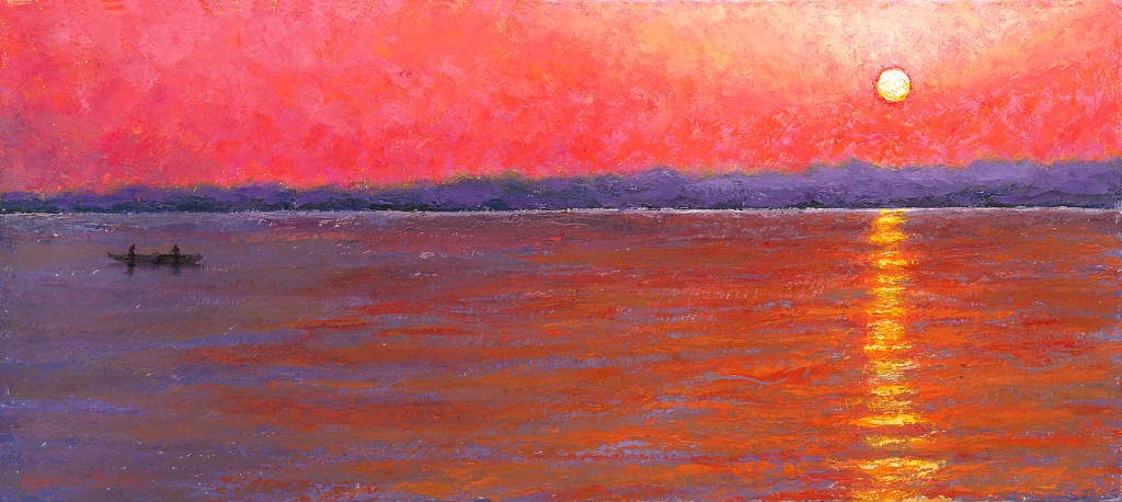 Colorful scene of bright morning sun just above the hoizon looking across the Ganges with two people in a boat.