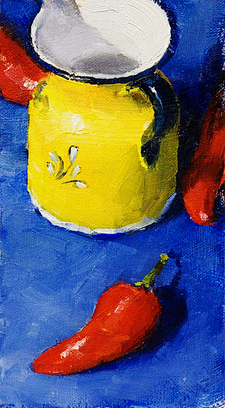 Still life oil painting of a yellow, white and blue pitcher surrounded by three bright red peppers on a deep blue background.