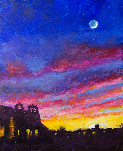 OIl painting of the moon in a colorful sky at sunset above the silouhetted buildings of downtown Taos, New Mexico.