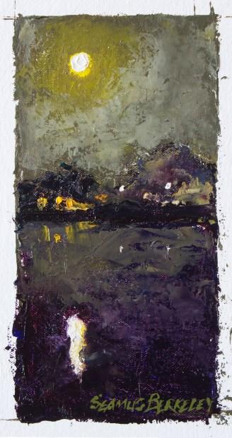 Featured Full Moon Marina Reflection Painting Seamus Berkeley