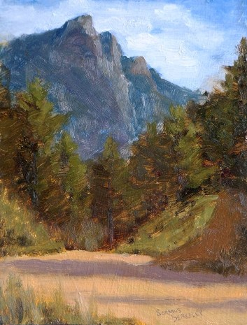 Oil painting of Twin Sisters Mountain in Estes Park, Colorado with evergreen trees and a dirt road in the foreground.