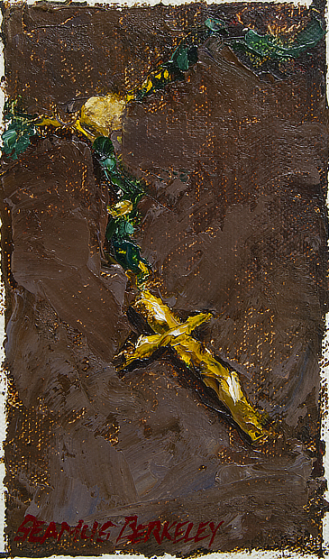 Still life oil painting of a set of green rosary beads with yellow metal cross set on a dark brown background.