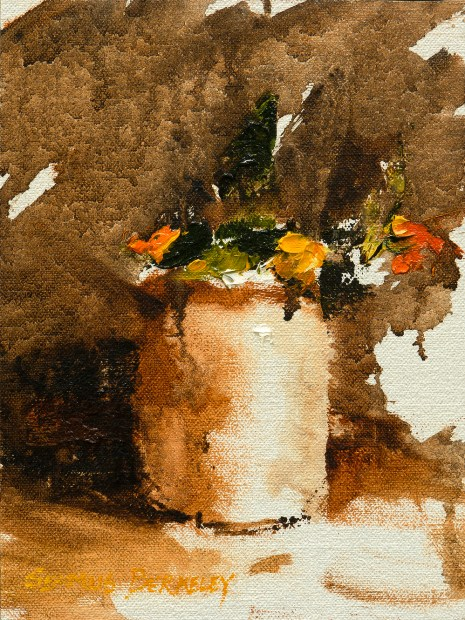 Monochromatic oil painting of a vase with flowers with touches of bright colors of red, orange, yellow and green.
