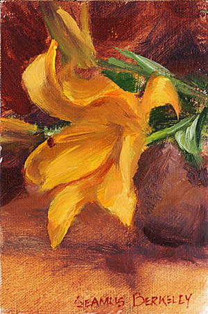 Oil painting of an orange lily flower.