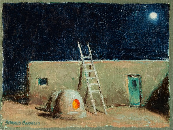 Oil painting night scene of a full moon rising over the Taos Pueblo with a lit horno.