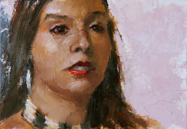 Oil painting study of Sarah from Questa, New Mexico.