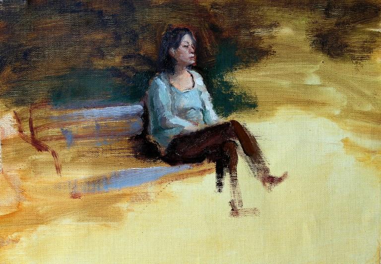 Oil portrait figurative painting study of Rumiko in Sano, Japan.