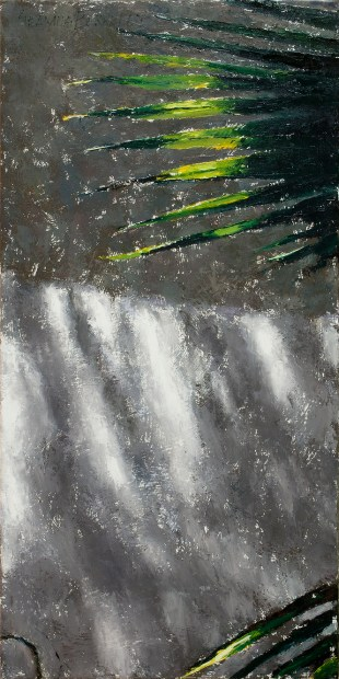 """One in a series of paintings entitled 'Looking Up', which investigates where we tend to see when walking outside in urban areas. The paintings illustrate other aspects of the visual landscape that is often overlooked when we are focused on what is closer to our feet or toward the horizon. From a study 'Green Light'. Big Green Light, Original oil on canvas, 40"""" x 20"""""""