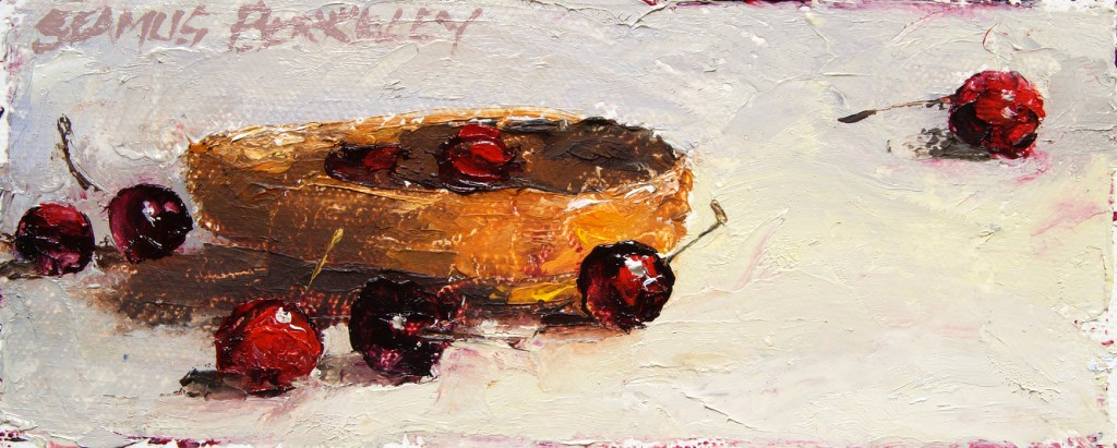 Still life oil painting of a small wicker basket with bright red cherries in it and on the surrounding off white fabric background.