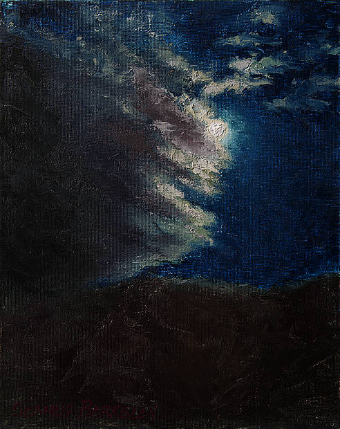 """Oil painting of the full moon partially obscured behind clouds high above a the Sangre de Cristo Mountains in Taos, New Mexico Moon, Clouds, Mountain, Night, Original oil on canvas, 10"""" x 8"""" Framed prints and canvases, digital download, commercial and advertising licensing of photographs by Seamus Berkeley."""