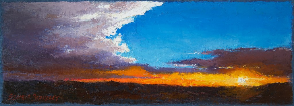 The evening skies in Taos, New Mexico often display a dazzling full spectrum of color. It's these scenes and the wide open skies that are one of the reasons New Mexico is known as the 'Land of Enchantment'.