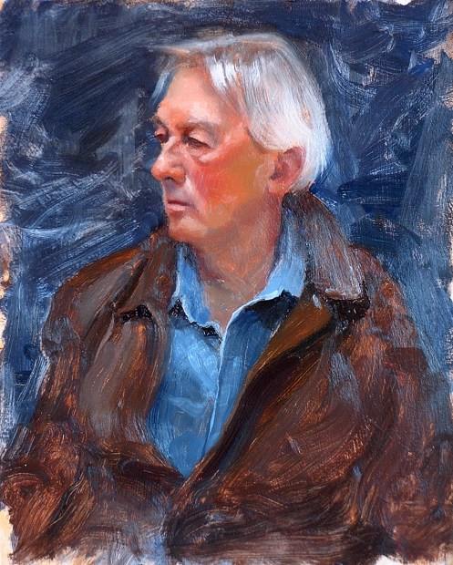 Oil portrait painting of Sal, artist in Taos, New Mexico. Completed during a session of the Taos Society of Portrait Artists.