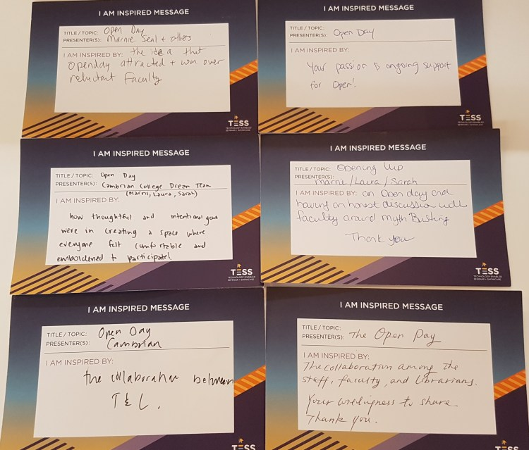 Inspired Message Cards from Participants