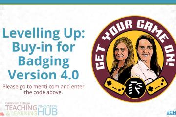 "Title slide for""Levelling Up: Buy-in for Badging Version 4.0"""