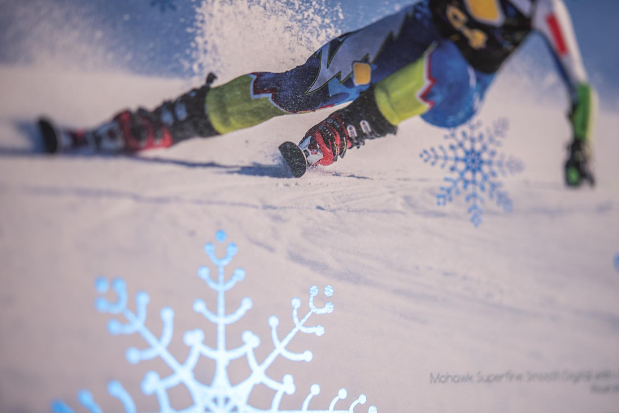 metallic ink print example of man skiing
