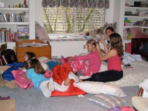 girls, sleeping bags, games
