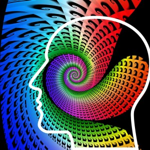 swirling colors in outline of a head
