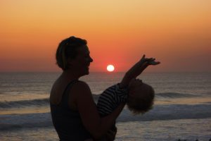father, child sunset