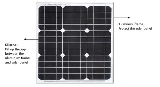 Solar panle, Aluminum frame, silicone