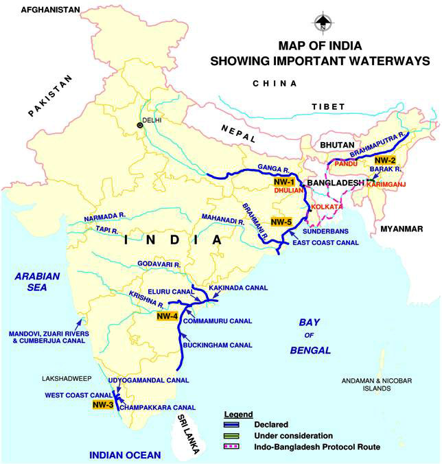 Inland Waterways of India - Map