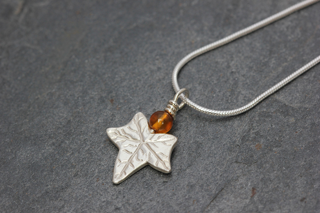 Amber ivy leaf pendant necklace ivy description mozeypictures Image collections