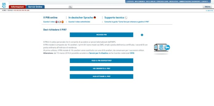 Revoca Pin Inps online