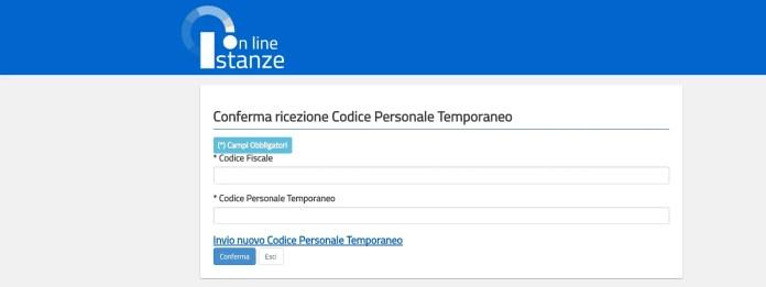 Codice personale temporaneo istanze online Miur