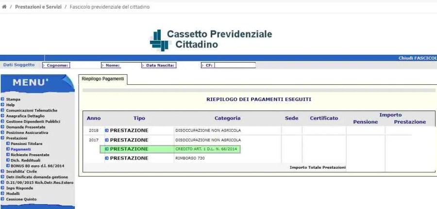Pagamento bonus renzi giugno 2018 pagamenti bonus renzi for Fascicolo previdenziale del cittadino
