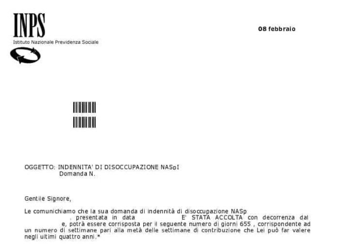 Consultare la lettera di accoglimento della Disoccupazione Naspi