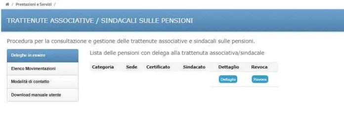 Trattenute sindacali su pensioni