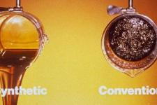 Image of synthetic motor oil versus conventional motor oil after high heat usage (OnSite OilChange)