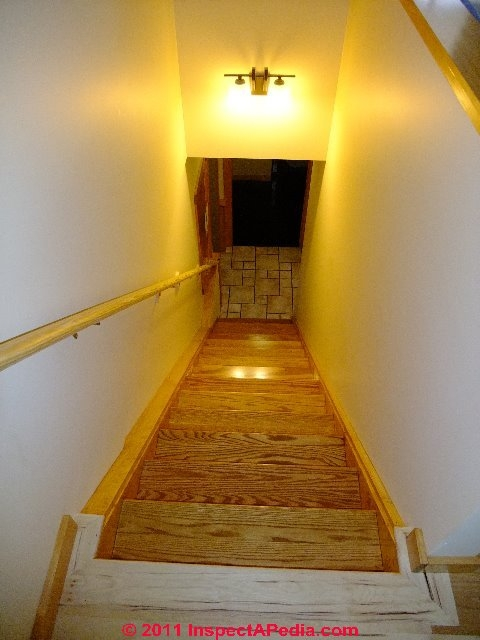 Stair Dimensions Clearances For Stair Construction Inspection | Floor Opening For Basement Stairs | L Shaped | Foyer | Both Side | Interior | 8 Foot Ceiling
