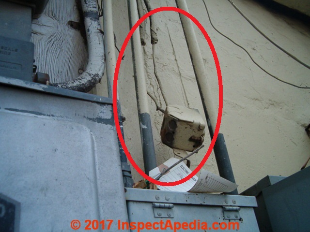 Electrical conduit inspection  damage  defects  improper installation Electrical conduit wiring   box damage  C  InspectApedia com