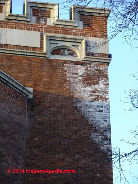 White Effloresence Stains On An Exterior Brick Wall Vassar College Poughkeepsie Ny C Paint