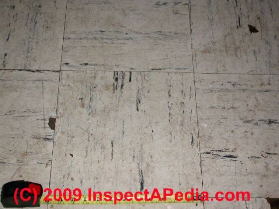 How to identify asbestos floor tiles or asbestos containing sheet     Asphalt asbestos floor tile  C  Daniel Friedman