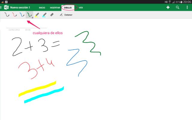 OneNote nota manuscrita Android