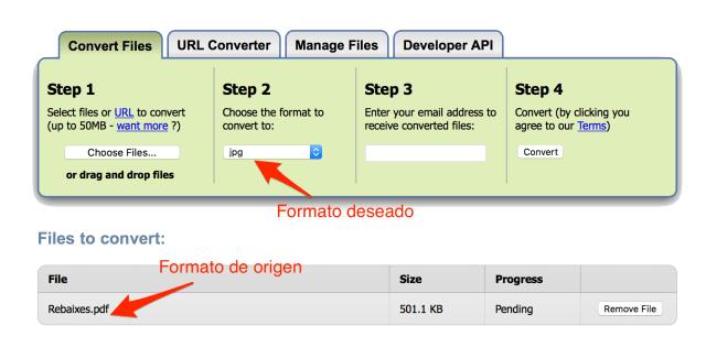 conversor archivos online _Paso 1 y 2, subida de archivo y selección del formato