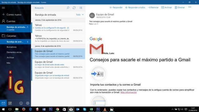 correo de windows 10 _ vincular bandeja entrada