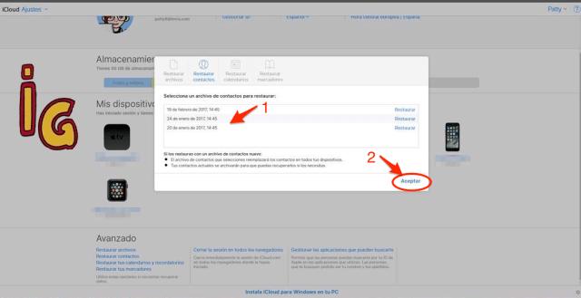 iCloud seleccion de archivos