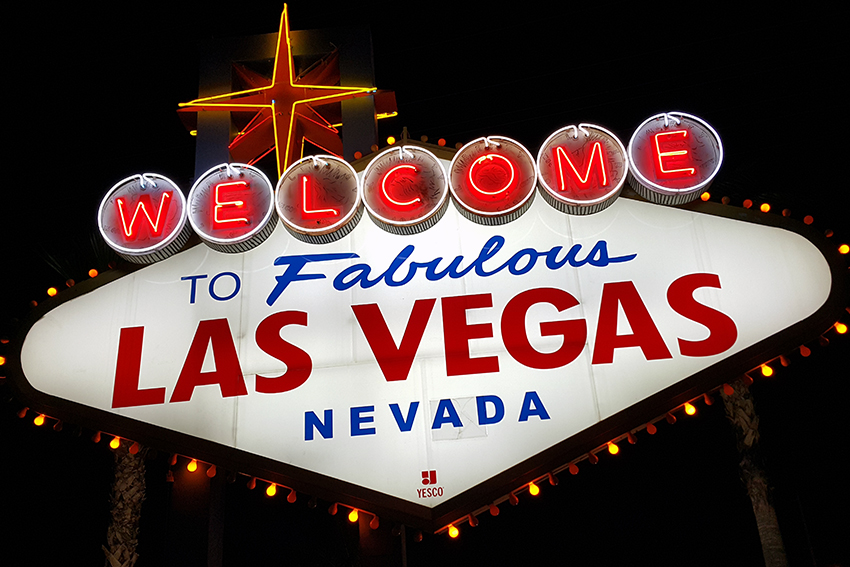 Las Vegas sign in de avond