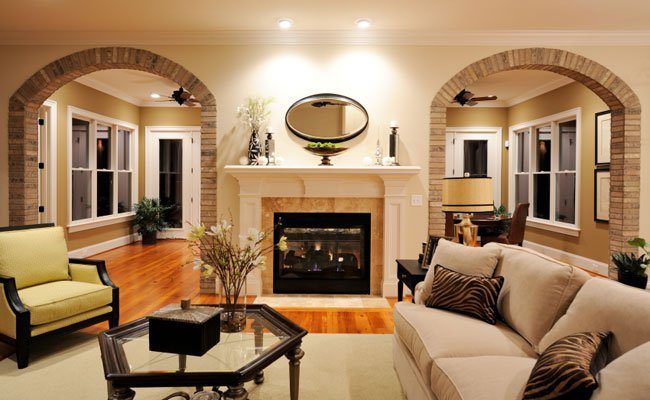 warm paint design of living room area