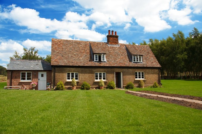 Beautiful garden and grass traditional house