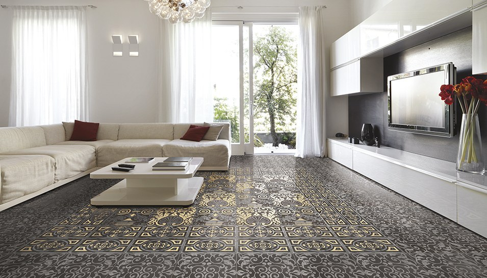 beautiful mosaic tile living room